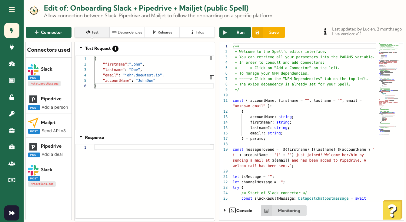 Edit of Onboarding Slack + Pipedrive + Mailjet (public Spell)
